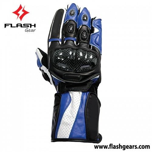 Flash Gear Blue Leather Race Gloves