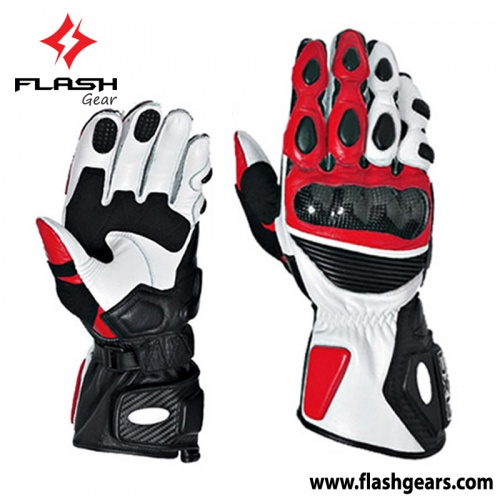 Flash Gear Red Leather Race Gloves